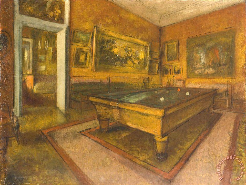 Billiard Room at Menil Hubert Painting by Edgar Degas; Billiard Room at Menil Hubert Art Print for sale